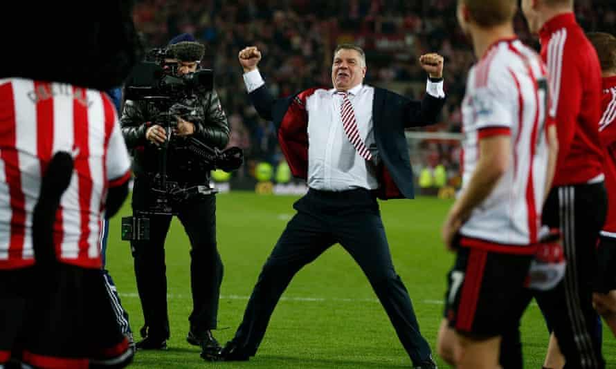 Sam Allardyce celebrates after the final whistle having seen his Sunderland side beat Everton 3-0.