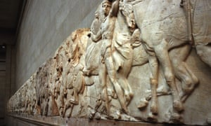 "A frieze which forms part of the ""Elgin marbles"", taken from the Parthenon in Athens, Greece almost two hundred years ago by the British aristocrat, the Earl of Elgin, at the British Museum in London."