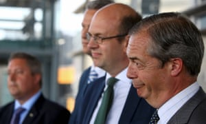 Left to right: Brexit Party MEP candidates for Wales James Wells and Nathan Gill, Mark Reckless AM and Brexit party leader Nigel Farage at a Brexit party campaign event in Cardiff Bay today.