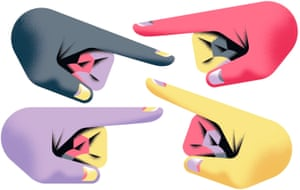 Illustration of four hands with pointing fingers