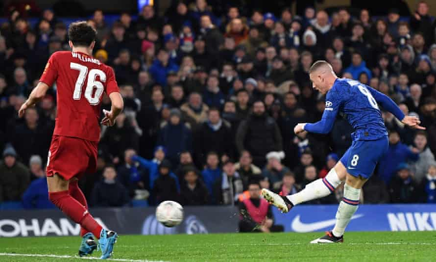 Ross Barkley shoots past Neco Williams to make it 2-0 to Chelsea against Liverpool in the FA Cup last 16.