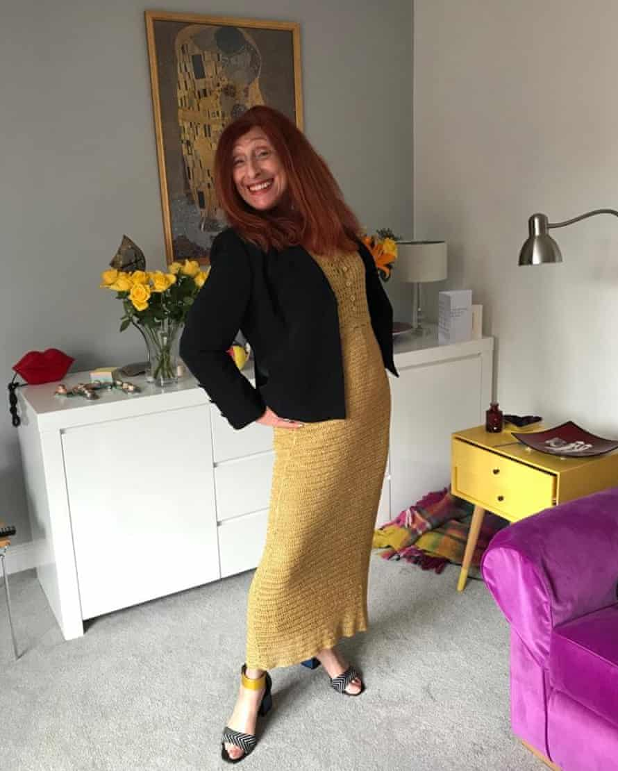 Bonita Waldman in her vintage gold lamé dress