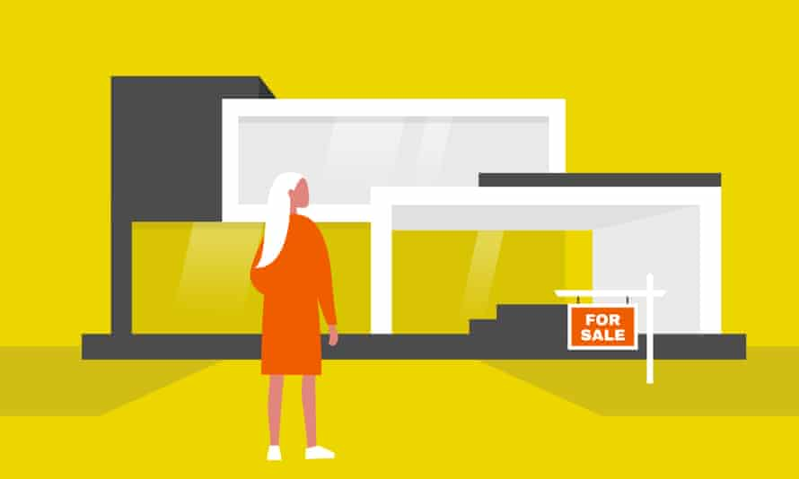 An illustration of a woman standing in front of a house for sale.