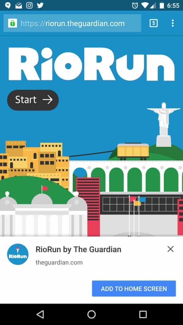 RioRun 'Add to Home Screen' prompt