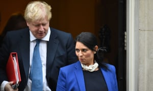 Boris Johnson and Priti Patel leaving Number 10.