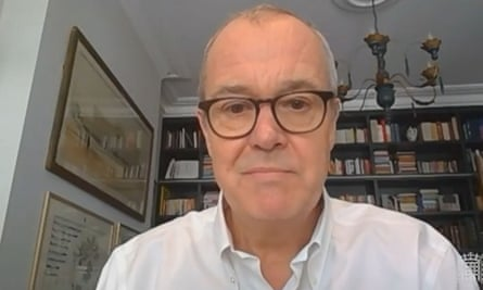 A video grab shows Patrick Vallance giving evidence to an online session of a health and social care committee hearing