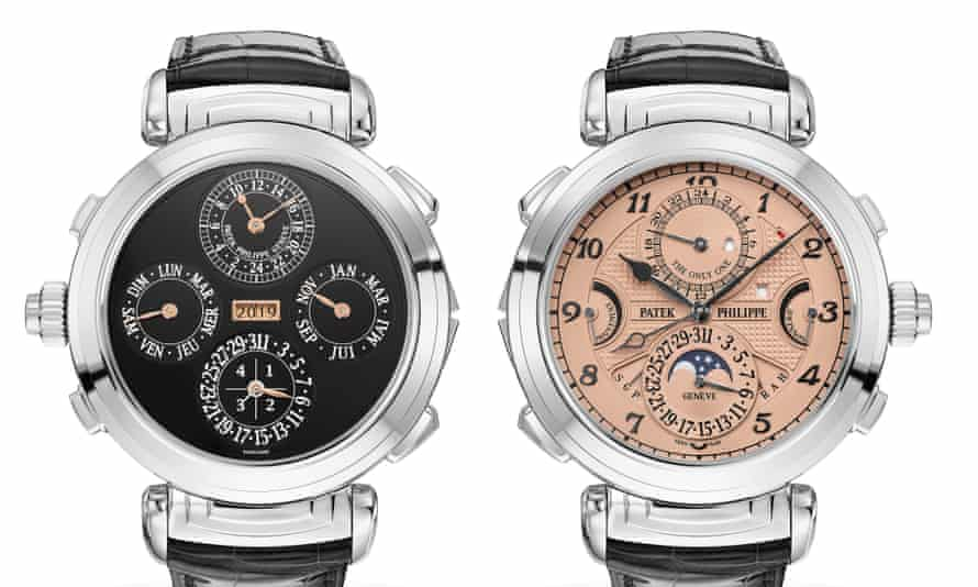 The Patek Philippe Grandmaster Chime has a reversible case with dials in rose gold and black.