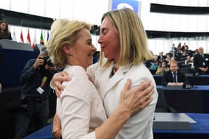 Strasbourg, FranceNewly elected European Commission President Ursula von der Leyen is congratulated by European Union High Representative for Foreign Affairs and Security Policy Federica Mogherini (R) after a vote on her election at the European Parliament