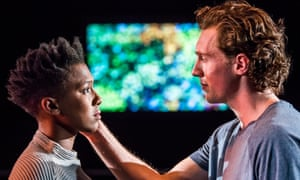 Jade Anouka as Bea and Rory Fleck Byrne as Aaron in The Phlebotomist by Ella Road at Hampstead Theatre. Directed by Sam Yates.