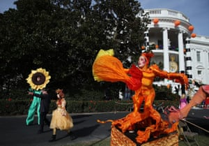 Performers in a Halloween event on the South Lawn of the White House in Washington, DC. President Barack Obama hosted the event for local children and children of military families trick-or-treating at the White House.