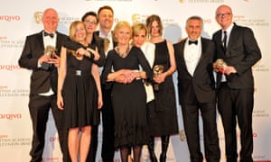 Richard McKerrow, first left, with the Bake Off team at the Baftas, including co-creator Anna Beattie, third from right.