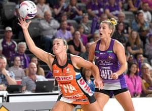 Kimberlee Green of the Giants catches the ball during the round 4 Super Netball match between the Firebirds and Giants at Brisbane Arena.