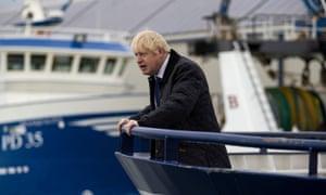 Boris Johnson on a fishing trawler in Peterhead.