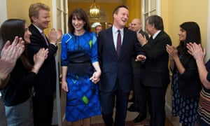 David Cameron and his wife Samantha return to No 10 on 8 May 2015 following the Conservatives' election victory.