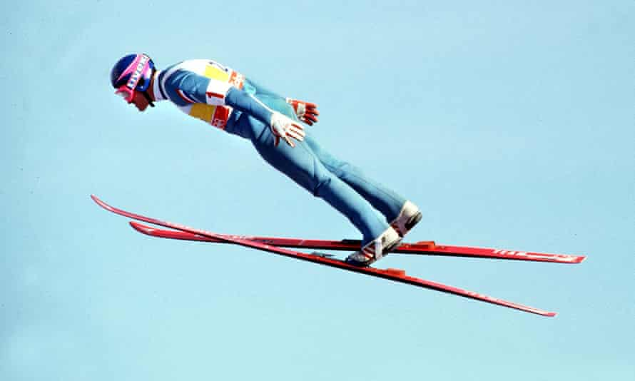 Eddie Edwards at the Calgary 1988 Winter Olympics.