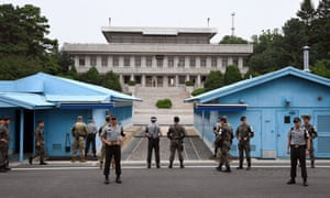 South Korea and US soldiers at the truce village of Panmunjom in the Demilitarized Zone (DMZ) dividing the two Koreas.