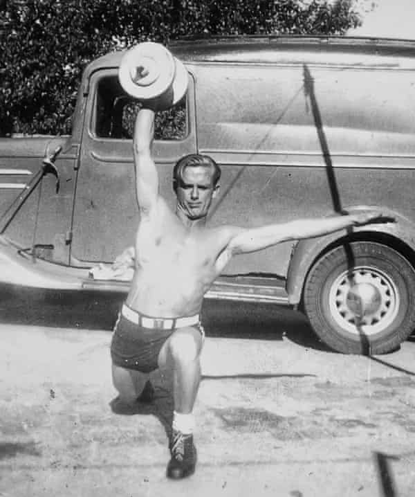 Ben O'Mara's grandfather weightlifting as a young man