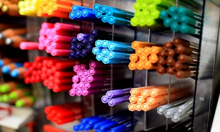 groups of coloured pens