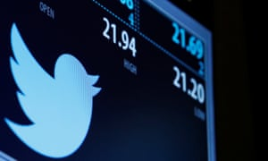 The Twitter logo and trading information