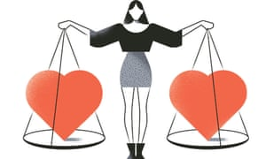 Illustration of woman holding heart scales in each hand