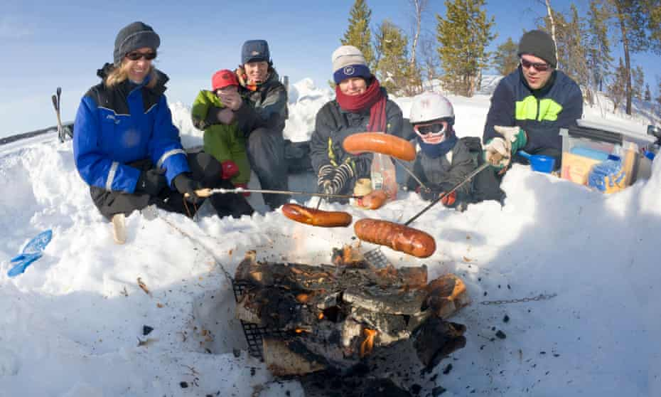 'Dress as you would for skiiing' … a barbecue in Lapland.