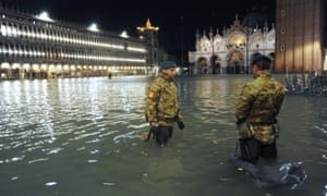 Extreme floodwaters in Venice have filled St Mark's Square