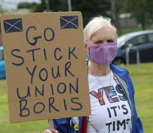 A nationalist protester at RAF Lossiemouth.