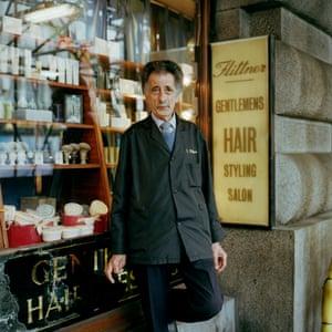 George outside barbers in Moorgate, London