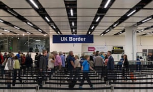 Passport control at Gatwick airport.
