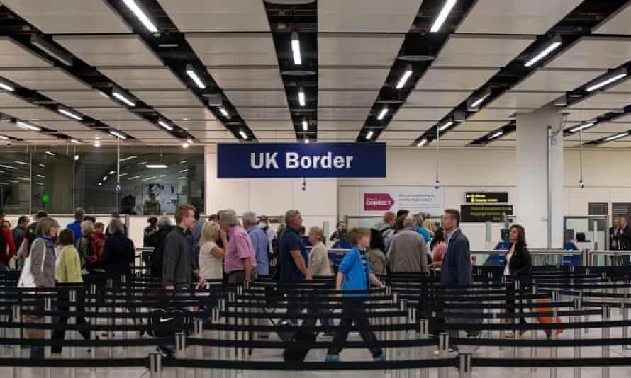 Passport control at Gatwick airport.