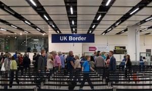 Passport control at Gatwick airports.