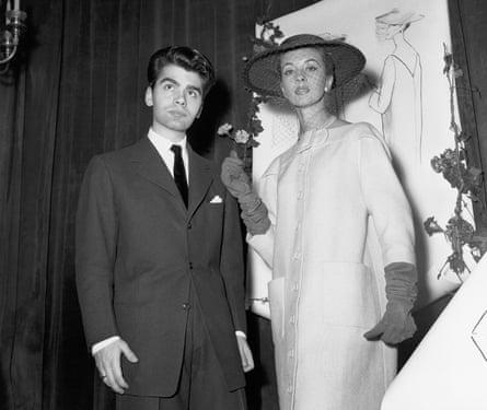 Karl Lagerfeld in 1954, winning best coat award at the Woolmark prize.
