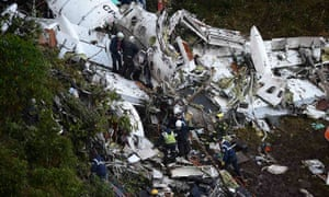 Rescuers search for survivors from the wreckage of the LAMIA airlines charter plane carrying members of the Chapecoense Real football team.