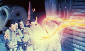 Stay-Puft Marshmallow Man, Harold Ramis, Bill Murray, Dan Aykroyd and Ernie Hudson in Ghostbusters.