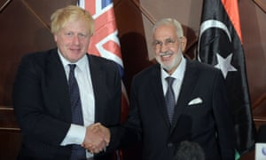 Boris Johnson and Libyan foreign minister Mohamed Taha Siala in Tripoli this August.