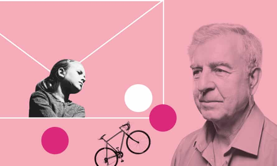 Young woman, older man and bicycle