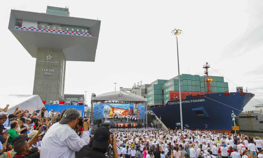 The Neo-panamax cargo ship Cosco Shipping Panama makes passage through the new locks in the expanded canal.