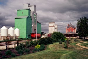 Grain silos and trains, in Dauphin, Manitoba, Canada