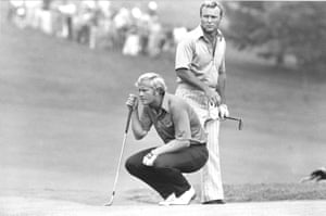 31 July 1972. Jack Nicklaus kneels as partner Arnold Palmer looks over his shoulder while studying a putt on the 18th green at Laurel Valley golf club at the PGA National Team Championship in Ligonier, Pennsylvania.