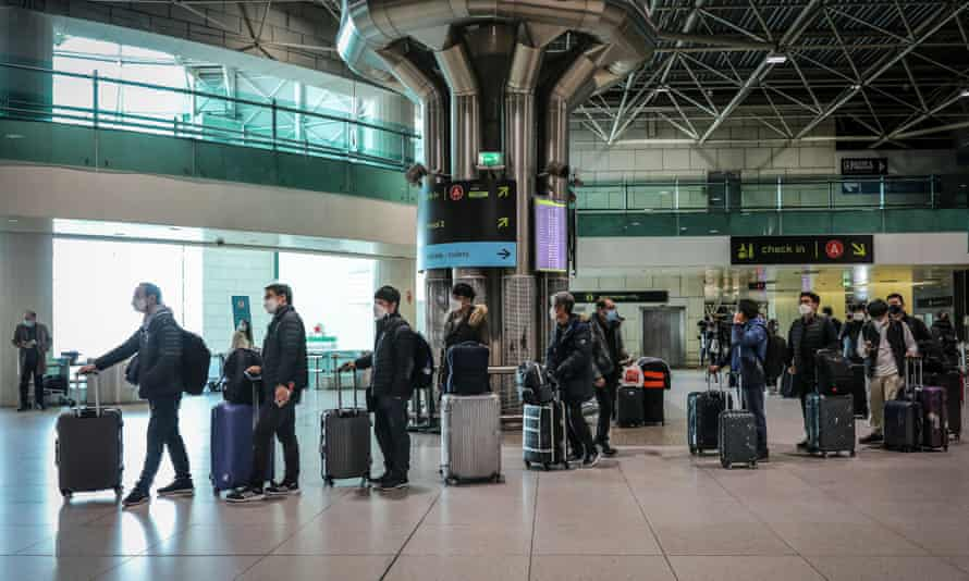 Passengers at Lisbon airport in February