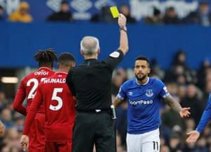 Walcott receives an early card.