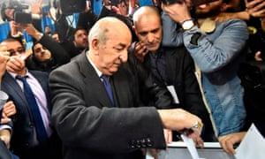 Abdelmadjid Tebboune casts his vote.