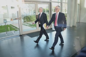 The smile before the storm: Malcolm Turnbull with Michael McCormack