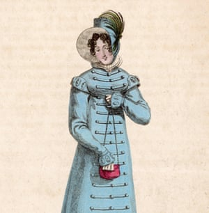A portrait of a 19th century lady in blue pelisse dress with military style trim and decorative cuffs, and a blue hat, holding a tiny red 'ridicule' bag.