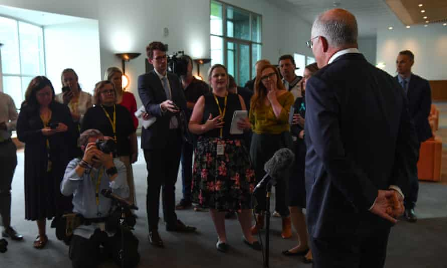 Prime Minister Scott Morrison at a press conference to answer sexual assault allegations made by staffer Brittany Higgins against a parliamentary staffer