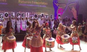 A capoeira demonstration at the 13th Awid International forum, Bahia, Brazil, 2016.