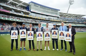 Members of England's greatest XI pose for a group picture at Edgbaston in August 2018. Left to right are Fred Trueman (represented by Andrew Lund), Alastair Cook, Graeme Swann, Len Hutton (represented by Robert Hutton), James Anderson, Joe Root, Bob Willis and David Gower.