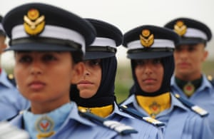 Karachi, Pakistan<br>Air Force women cadets march past the Mohammad Ali Jinnah mausoleum to mark Defence Day.
