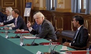Prime minister Boris Johnson, centre, chairs a socially distanced government Cabinet meeting at the Foreign and Commonwealth Office (FCO) in London, on Tuesday, 15 September, 2020. International Trade Secretary Liz Truss, left, Health Secretary Matt Hancock, 2nd left, and Chancellor of the Exchequer Rishi Sunak, right.
