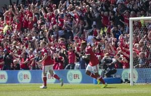 Britt Assombalonga and Ben Osborn join the Nottingham Forest fans after Chris Cohen's goal against Ipswich.